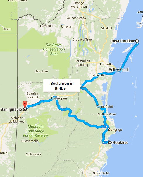 Route Busfahren in Belize